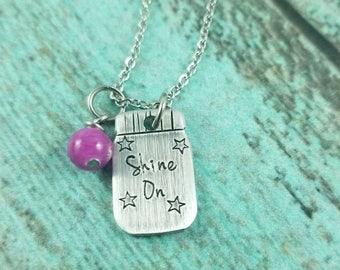 Shine on necklace, mason jar necklace, mason jar gift, moonshine jar necklace, inspirational necklace, inspirational jewelry, gift for her
