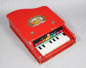 Bright Red Vintage 1960's Toy Baby Piano Musical Instrument