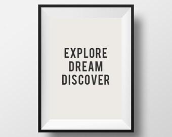Explore, dream discover, mark twain quote, inspirational quote, motivational quote, quote, poster, instant download, wall decor
