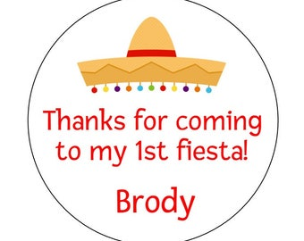 12 First Fiesta Stickers, Fiesta Theme, Baby Shower, Fiesta Shower, Fiesta Party, Sombrero Stickers, Fiesta Labels, Fiesta Favors