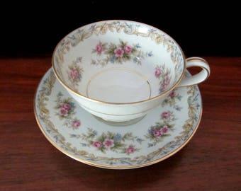 Noritake 'Somerset' Floral Teacup and Saucer Set. No 5317
