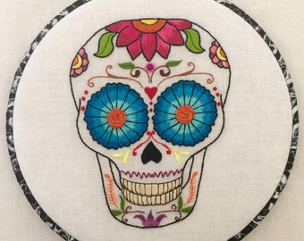 Flowery Sugar Skull Dia De Los Muertos Hand Embroidered Hoop Art, Colorful, Whimsical, Hand Embroidered