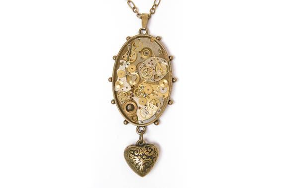 Steampunk Pendant / Necklace Watch Parts, Cogs and Gears in Resin, Oval Bezel, Heart Charm, Bronze Chain