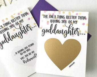 Bridesmaid Proposal for Goddaughter Scratch Off Card - Proposal from Godmother - Godparents - Bridal Party - Wedding Card - PURPLE AND GOLD