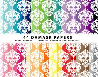 """Damask Digital Paper Pack 12"""" x 12"""" Commercial and Personal Use - elegant white Rainbow - 44 sheets INSTANT DOWNLOAD scrapbooking no credit"""