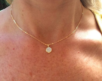 Tiny 24K Gold Fill White Druzy choker necklace small white gemstone pendant simple gold layering necklace dainty jewelry jewellery gift box