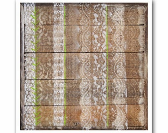 Rustic Modern Art Print-Antique Lace Trim #5 on Reclaimed Wood-Giclee-Archival Print by Heather Roth-Green