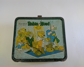 1974 Aladdin Metal Disney Robin Hood Lunchbox, NO Thermos