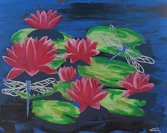Lotus & Dragonflies I