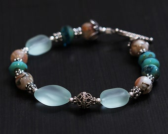 Sea Glass Ocean Bracelet, Sterling Silver, Shell Mosaic, Czech Picasso Glass, Seashore Vacation Getaway, Aqua Blue, Silver Bali BESC