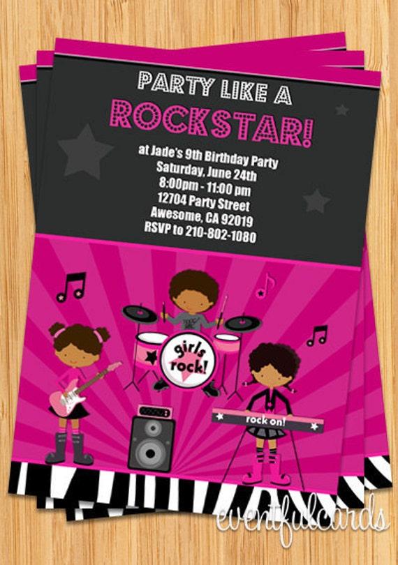 african american girls rock star birthday party invitation