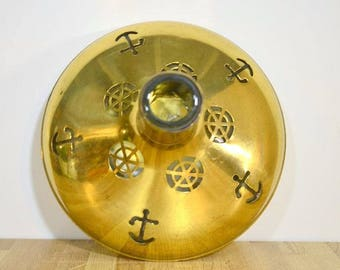 Vintage Brass Covered Bottle Nautical Theme Anchor Ships Wheel Hallowed Out Sweden Design Vase Upcycled Liquor Decanter