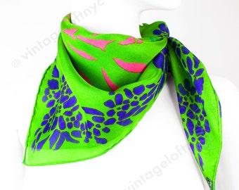 True Vintage Silk Scarf 1960s Italian  Printed Silk Gauze  Apple Green Abstract Art Matisse Cut Out Inspired Pattern