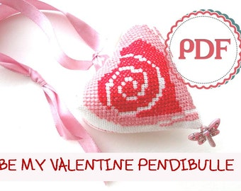 Pendibulle 'Be My Valentine' PDF Pattern / Cross Stitch Pattern / Instant Download PDF Pattern / Valentine Home Decor / New Year Present