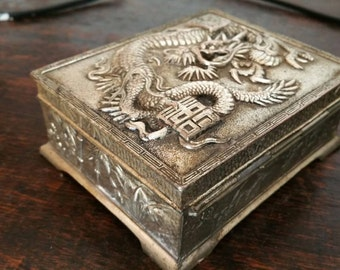 Vintage Heavy Chinese Dragon Embossed Metal Jewellery Box