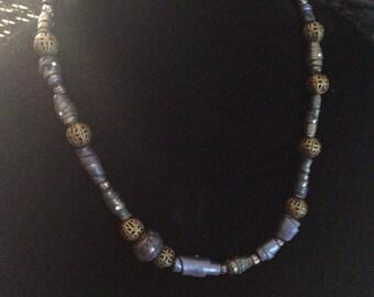 Handgefertigte 20-Zoll-Kette, blau-lila-grün Gas Effekt handgefertigte Perlen, Polymer Ton, Unikat, Steampunk, Industrie-Look von Felicianation Cr