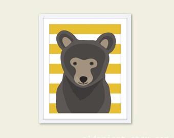 Bear Nursery Wall Art Print - Baby Children Art - Woodland Animal - Brown Mustard yellow