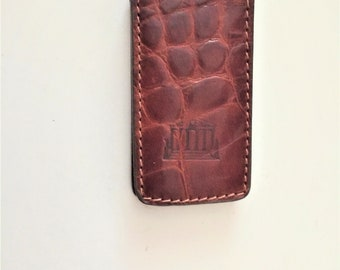 Vintage Leather Money Clip Brown Embossed Money Clip