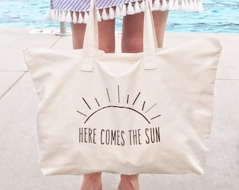 Beach Bag, Here Comes the Sun, Farmer's Market Bag, Canvas Tote Bag, Reusable Tote, Reusable Bag, Eco Friendly, Market Bag