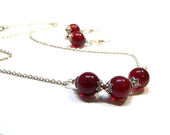 ON SALE Red Quartz Earrings Necklace Jewelry Set Large Red Chalcedony Jewelry Gift for her 12 mm Sterling Silver Wedding Top Selling Jewelry