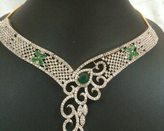 Indian Jewelry Set, Green Necklace, Nizam Gulubandh Necklace,Indian Wedding Jewelry,Statement Necklace, Emerald Necklace, Green Choker