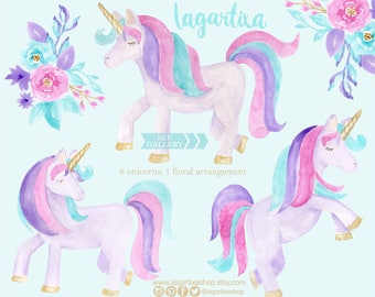 Pastel Watercolor Unicorn Clip art, floral, runing, hand painted, mint, purple, pink, blue