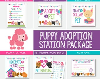 Pet Adoption Station Party Package, Puppy Adoption Party, Puppy birthday, Digital files, 7 + 1 printable Signs, Instant download