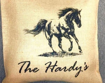 Personalized Horse Themed Burlap Pillow Cover