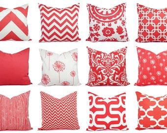 Coral Pillow Cover - Coral Throw Pillow - Decorative Pillows - Coral Accent Pillow - Coral Pillows - Coral Lumbar Pillow - Coral Euro Sham