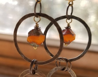 Orange Czech glass and bronze hoop earrings