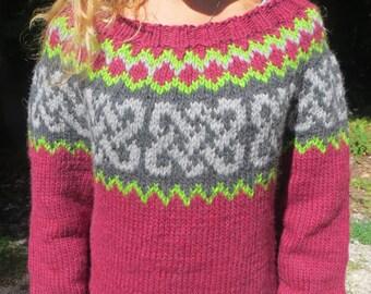 Women's wool wine color handknit Icelandic style sweater
