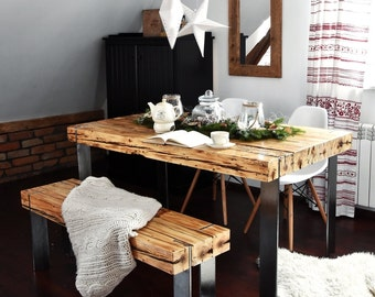 Hand Crafted 6 seater farmhouse style Modern Reclaimed Wood & Steel Dining Table and benche set Handmade Industrial Kitchen Table old wood