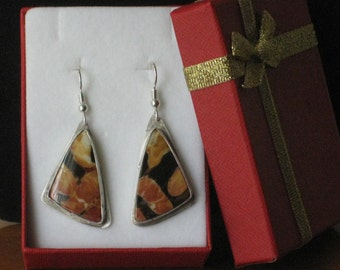 Sterling Silver earrings with orange spots - Handmade One of a Kind Original