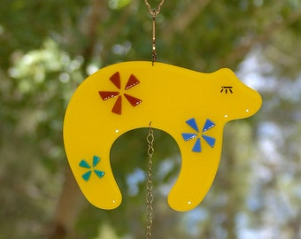 Fused Glass Bear Suncatcher - yellow with flowers