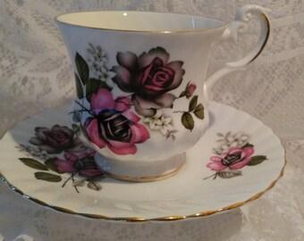 Vintage Royal Dover Pink and Black Roses Teacup Set