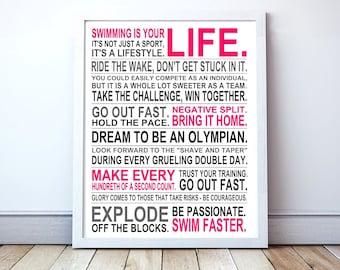 Swimming Is Your Life - Custom Manifesto Poster Print