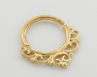 Gold Septum Ring. 18g nose ring.  indian septum ring. nose jewelry.