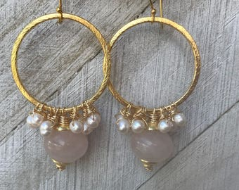Gold & Quartz Earrings
