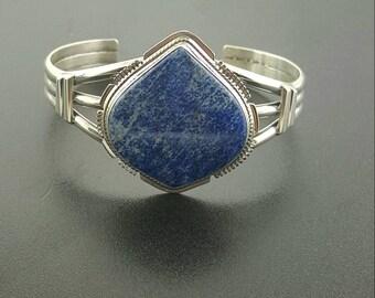 Lapis cuff bracelet-Sterling silver