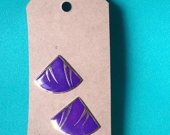 80s Purple Fan Earrings *FREE SHIP