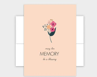 May Her Memory Be A Blessing - Jewish Condolences Card