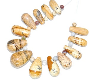 13 pieces Picture Jasper pendant bead Set J14B7129