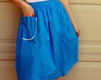 REVERSIBLE WRAP SKIRT 1960s aqua polka dot w/ pocket S