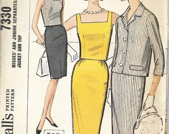 1964 McCall's 7330 Misses And Junior Slim Skirt, Jacket And Square Neck Top Pattern, Size 9-11, Bust 30 1/2 - 31 1/2