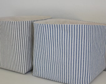 Ticking Stripe Storage Baskets - Fabric Baskets - Available in 11 Colors and 3 Sizes