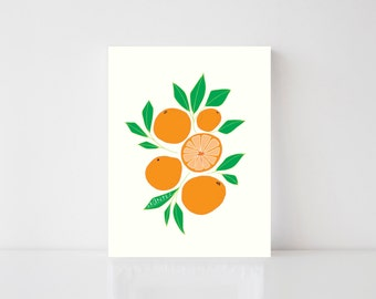 Oranges, Art, Print, Kitchen, Illustration, Fun, Unique, Colorful, Hand Lettering, 8x10, 5x7, Food, Summer, Playful, Children, Whimsical,