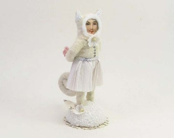 Spun Cotton Vintage Style White Cat Girl Figure/Ornament (MADE TO ORDER)