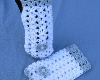 Crochet Lacy Fingerless Mitts In White And Grey