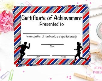 instant download cross country certificate jog a thon award running certificate jog a thon printable running achievement