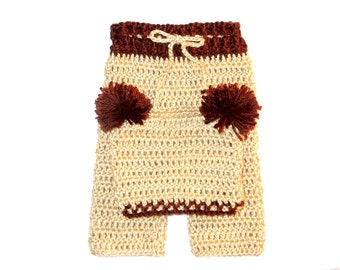 Crochet Baby Pants and Hat Set, Brown, Beige, Baby Shower Gift,